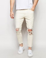 Asos Skinny Jeans In Cropped Length With Extreme Rips