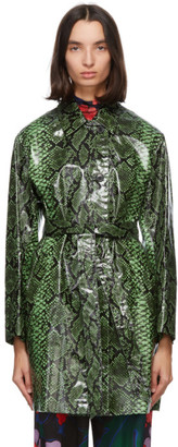 Dries Van Noten Green Snake Coated Trench Coat