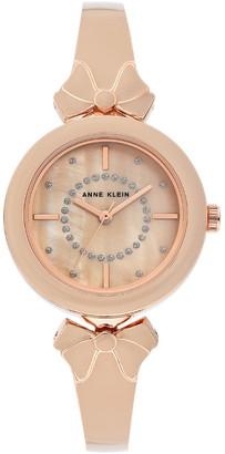 Anne Klein Women's Glitter Accented Enamel Bow Bracelet Watch, 31mm