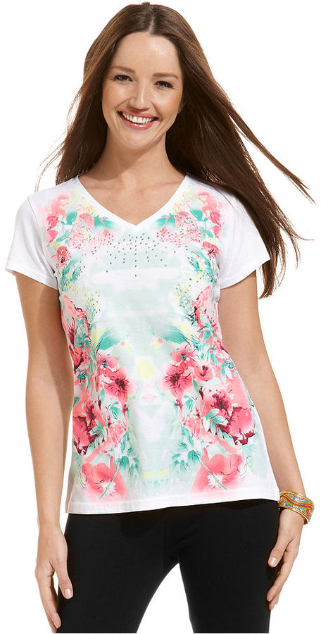 Style&Co. Sport Petite Top, Short-Sleeve Floral-Print Tee