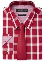 Nick Graham Men's Fitted Graph Buffalo Check Dress Shirt & Textured Geo Tie Set