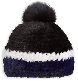 The Fur Salon Women's Julia & Stella For The Fur Salon Knitted Mink Fur & Fox Fur Pom-Pom Hat