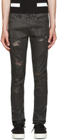 Off-White Black Distressed Coated Jeans