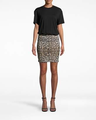 Nicole Miller Leopard Combo Shirt Dress