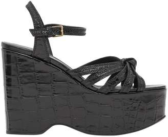 Burberry Knot Detail Embossed Leather Platform Wedges