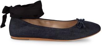 Saks Fifth Avenue Beau Denim Ankle-Strap Ballet Flats