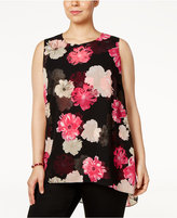 Calvin Klein Plus Size High-Low Floral-Print Top