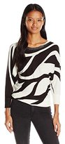 XOXO Women's Printed Button Back Sweater