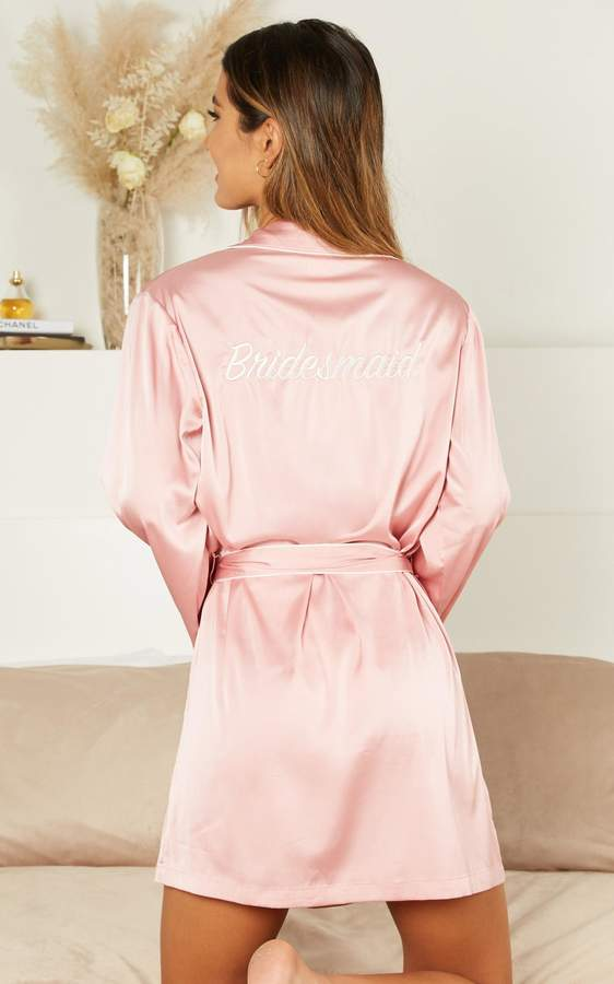 Showpo Ellena Bridesmaid Robe in blush satin - 4 (XXS) Robes