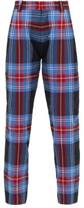 Charles Jeffrey Loverboy Tartan Cotton-blend Seersucker Trousers - Womens - Blue Multi