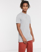 Asos Design ASOS DESIGN longline t-shirt with crew neck and side splits in grey marl