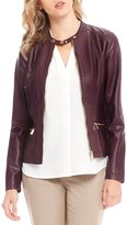 Calvin Klein Faux Leather and Rib Knit Zip Front Jacket