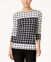 Charter Club Petite Grid-Print Boat-Neck Top, Only at Macy's