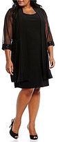 R & M Richards Plus Glitter-Trim Illusion Jacket Dress
