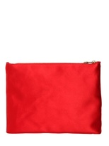 Charlotte Olympia Wolf Silk Satin & Leather Pouch
