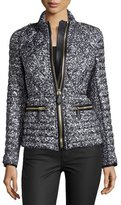 Burberry Zip-Front Quilted Puffer Jacket, Mid Gray