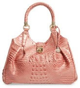 Brahmin Elisa Croc Embossed Leather Shoulder Bag - Pink