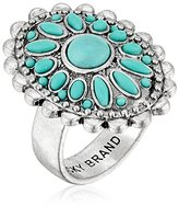 Lucky Brand Tribal Turquoise and Silver Ring, Size 7