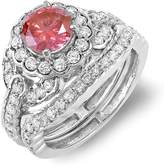 DazzlingRock Collection 2.00 Carat (ctw) 14k White Gold Round Diamond Ladies Halo Bridal Ring Engagement Set 1.00 CT center