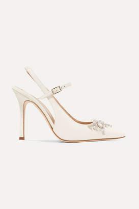 Alessandra Rich Crystal-embellished Leather Slingback Pumps - Ivory