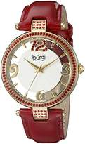 Burgi Women's BUR150RD Rose Gold Quartz Watch with Swarovski Crystal Accents and See Thru Dial With Red Leather Strap