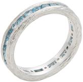 Elizabeth Showers Women's Silver & Swiss Blue Topaz Birch Channel Stack Ring