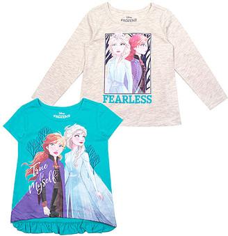 Children's Apparel Network Girls' Tee Shirts Beige - Frozen 2 Beige Short-Sleeve Tee Set - Toddler