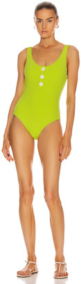 Solid & Striped Anne-Marie Button Swimsuit in Chartreuse Rib | FWRD