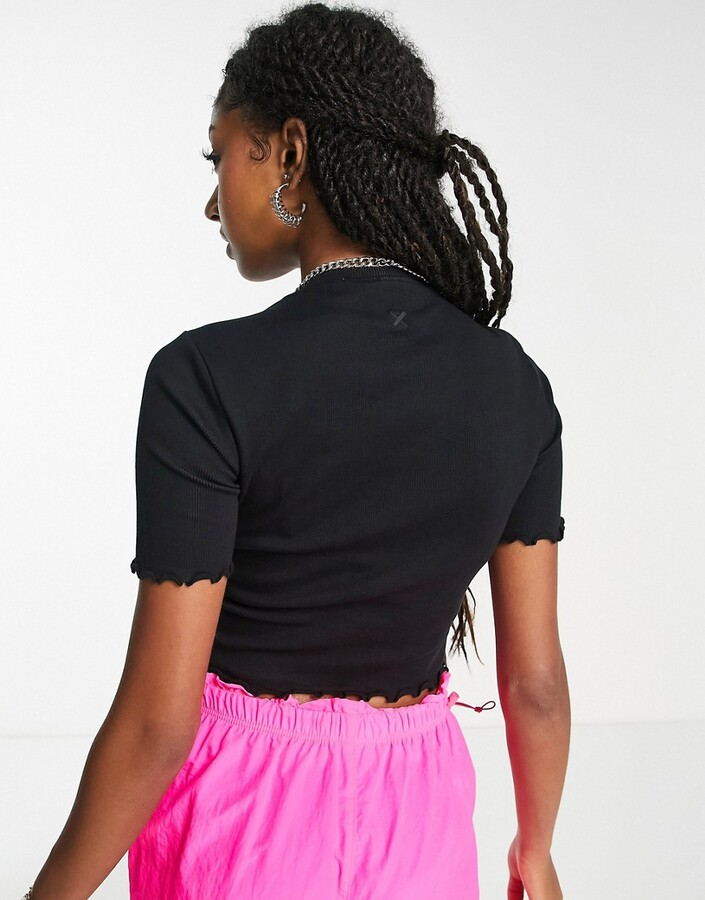 Thumbnail for your product : Collusion lettuce edge rib organic cotton T-shirt in black