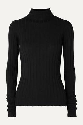 Petar Petrov Karen Ribbed Merino Wool Turtleneck Sweater - Black