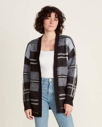 August Silk Brushed Plaid Long Sleeve Open Cardigan