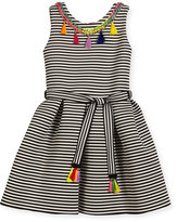 Zoe Sleeveless Pleated Striped Fit-and-Flare Dress, Black/White, Size 7-16