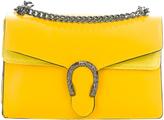 Yellow Embellished Leather Crossbody Bag
