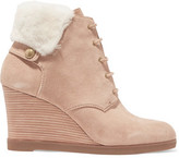 MICHAEL Michael Kors Carrigan Faux Fur-Trimmed Suede Wedge Boots