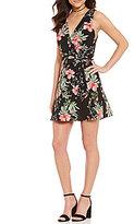 Teeze Me Floral-Print V-Neck Wrap Dress