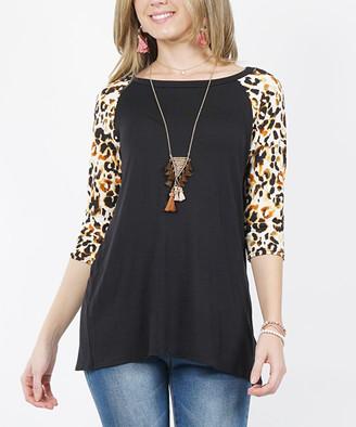 42pops 42POPS Women's Tunics Black_Temp - Black Leopard Three-Quarter Sleeve Raglan Tunic - Women
