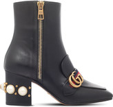 Gucci Peyton embellished heel leather ankle boots