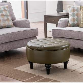 Charlton Home Cangelosi Tufted Storage Ottoman Charlton Home Fabric: Brown Faux Leather