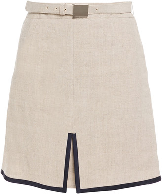 LVIR Satin-trimmed Linen-canvas Mini Skirt