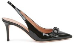 HUGO BOSS Slingback pumps in patent Italian leather with bow detail