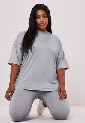 Missguided Plus Size Gray Oversized T Shirt And Legging Co Ord Set
