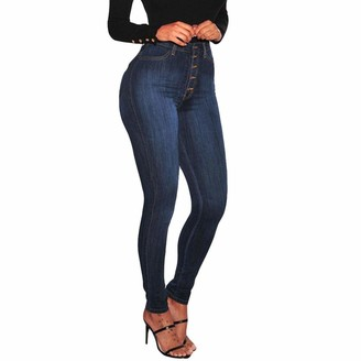 TIFIY Women/Ladies Fashion Plus Size Hole High Waist Button Fly Leggings Skinny Jeans Pencil Pants Clearance Office Lady OL Trouser Autumn Winter 2018 Blue