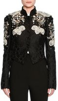 Dolce & Gabbana Jeweled Floral Jacquard Cropped Jacket, Black
