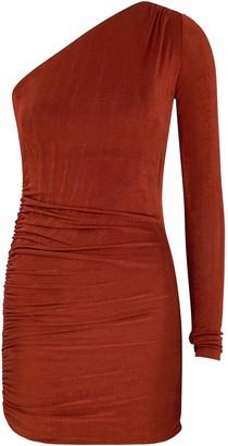Alix Jordan terracotta one-shoulder mini dress