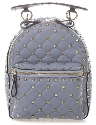 Valentino Garavani Light Blue Rockstud Spike Mini Backpack In Quilted Leather
