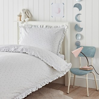 The White Company Easy-Care Moon Floral-Print Bed Set, White Blue, Cot Bed
