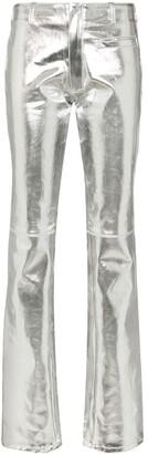 Marine Serre metallic straight leg jeans