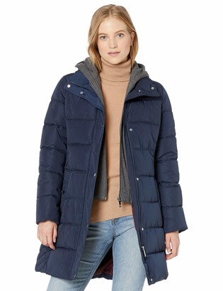 Tommy Hilfiger Women's Midlength Quilted Puffer Jacket with Zipout Fleece Hood