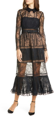 Self-Portrait Long Sleeve Lace Midi Dress