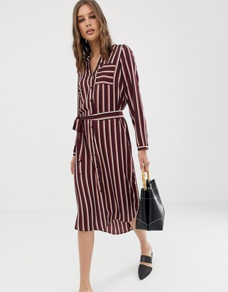 Vero Moda stripe midi shirt dress-Red